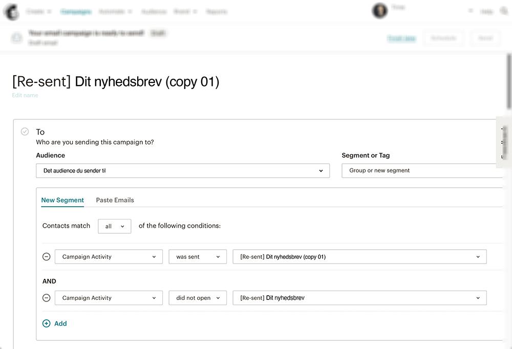 Her kan du redigere i segmentet som Mailchimp har oprettet til dig