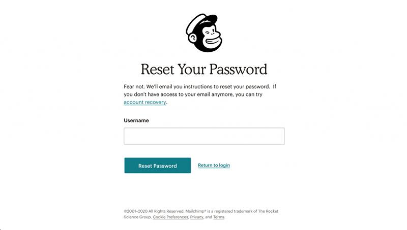 Her kan du indtaste dit brugernavn, og klikke på 'Reset password'