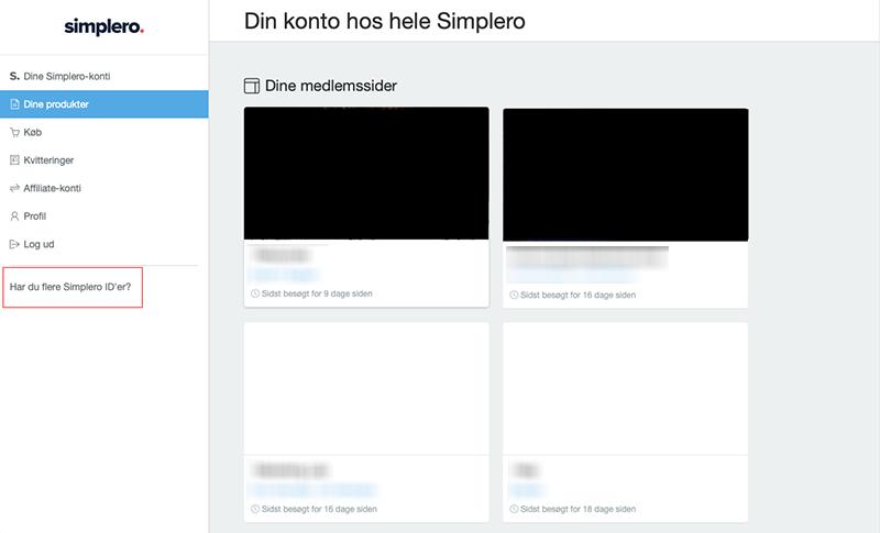 Har du flere Simplero ID'er?