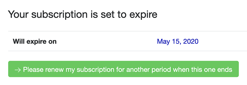 Her kan du se hvornår dit abonnement udløber og du kan abonnere igen, hvis du har ændret mening